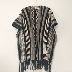 Free People poncho / cape with fringe bottom